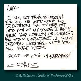 Craig McCracken handwritten testimonial
